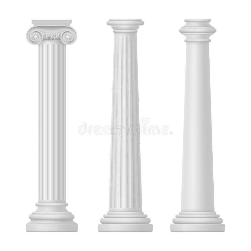 Ionisch en tuscan, griek en egypte, rome kolom vector illustratie