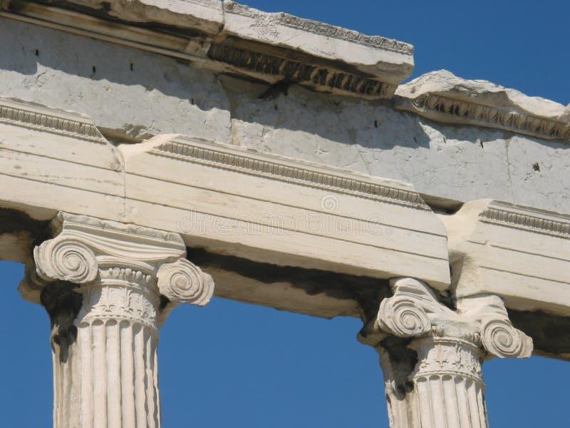 Ionische kolommen van Erechtheion, Athene, Griekenland royalty-vrije stock afbeelding