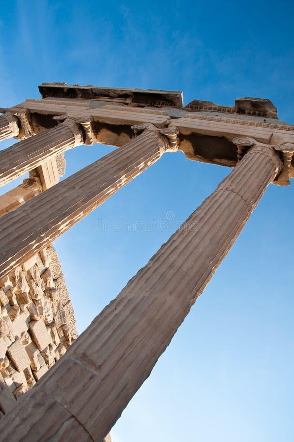 Ionische kolommen van Erechtheion, Athene, Griekenland. royalty-vrije stock fotografie