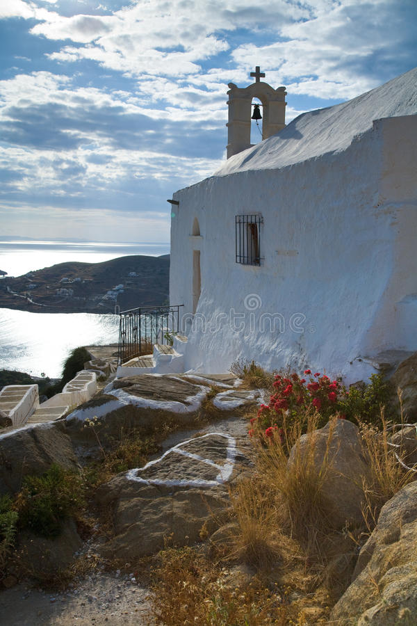 Ios Church. A picture of a white church on Iso looking out to sea stock photos