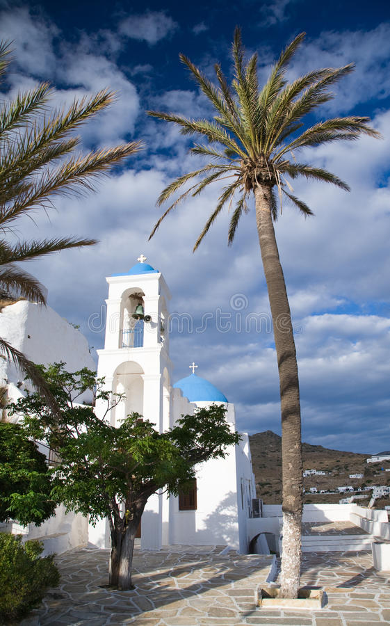 Ios Church. A picture of a white church on Iso and out to sea royalty free stock photos