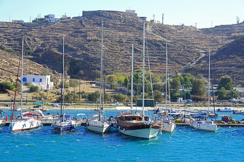 IOS, GREECE, 18 SEPTEMBER 2018, Panoramic view of the entrance to the port stock photography