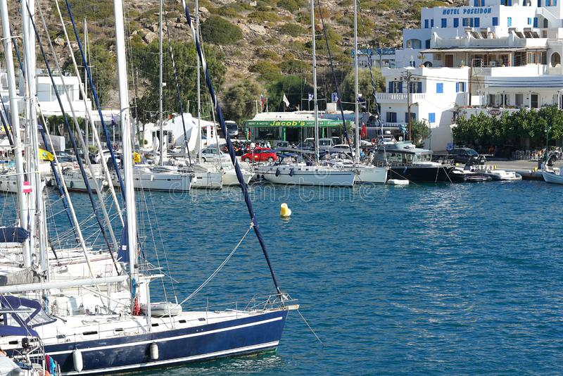IOS, GREECE, 18 SEPTEMBER 2018, view of the entrance to the port of Ios royalty free stock photos