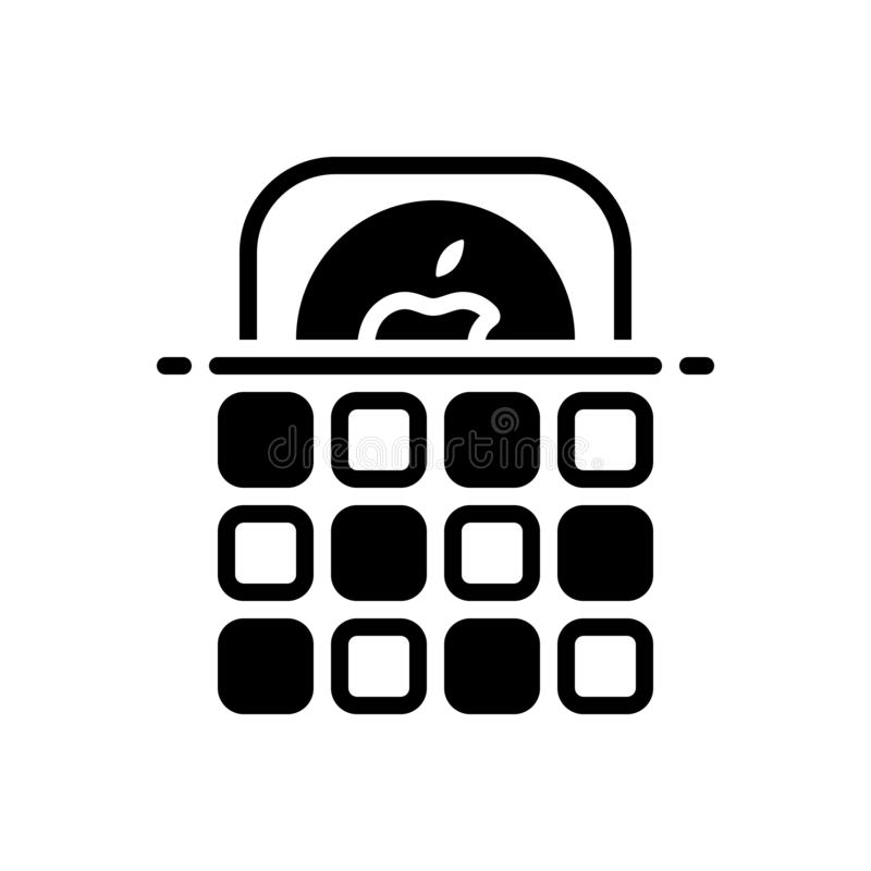 Black solid icon for Ios, app and software. Black solid icon for Ios, logo, technology, store,  app and software royalty free illustration