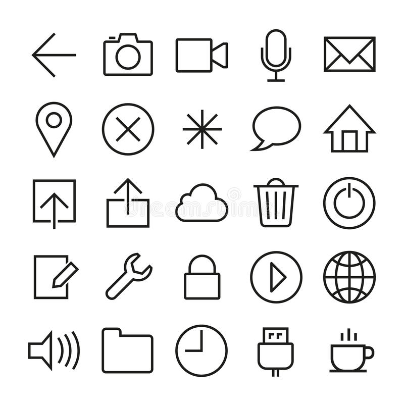 Ios 7 icons set. Vector icons set in ios 7 style. EPS8 stock illustration