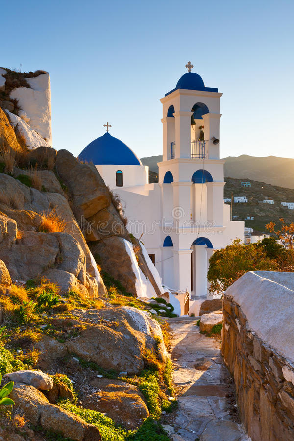 Ios island. Church in Chora on Ios island early in the morning royalty free stock photo