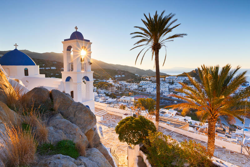 Ios island. View of Chora on Ios island early in the morning stock photos