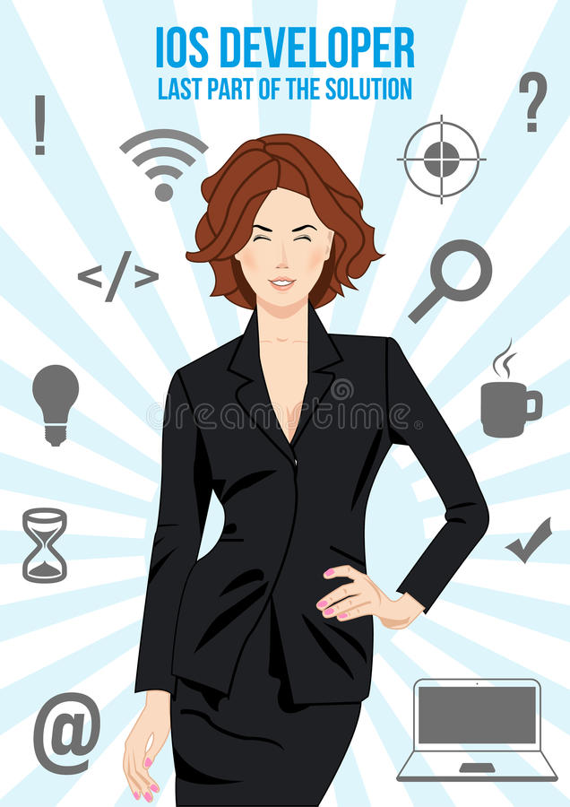IOS lady developer search suit design concept. IOS developer design concept. Nice looking confident man surrounded with icons with different components of vector illustration