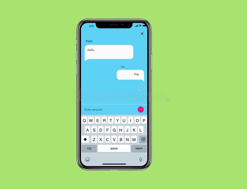 IOS Mockup Simple Chat Wireframe. For new IOs phone with simple background vector illustration