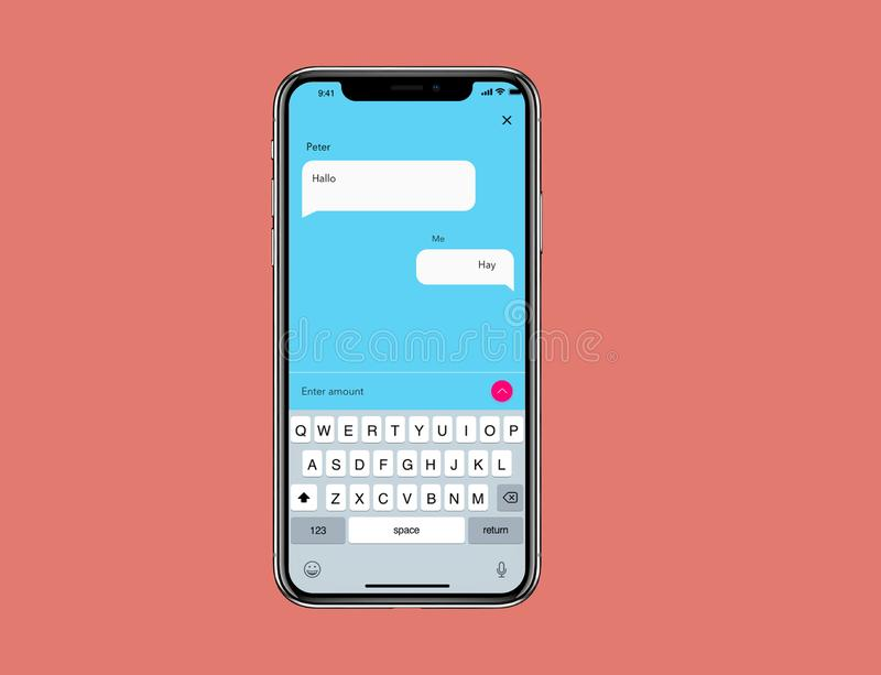 IOS Mockup Simple Chat Wireframe. For new IOs phone with simple background stock illustration