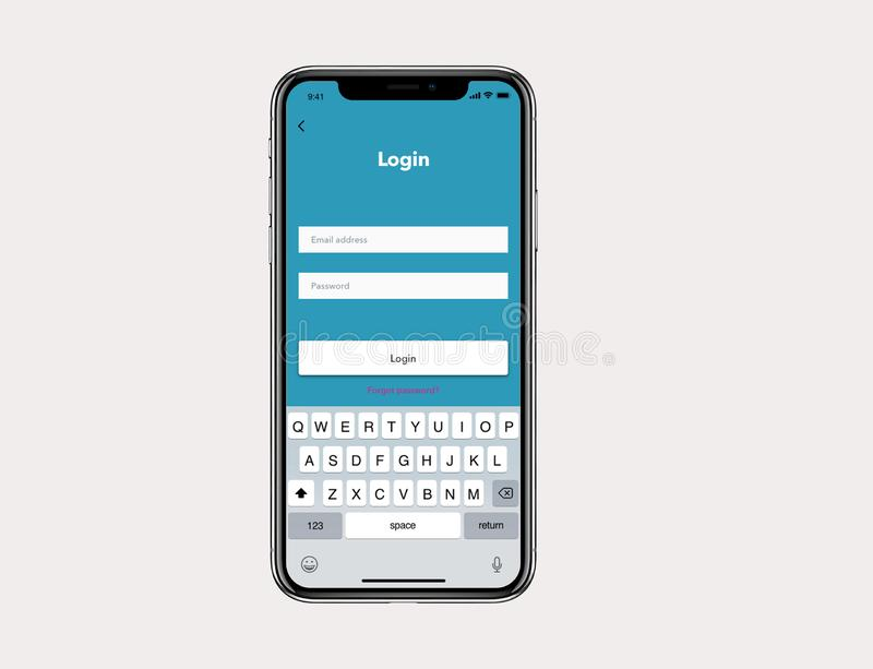 IOs Mockup Simple Login User Wireframe. For Iphone X stock illustration