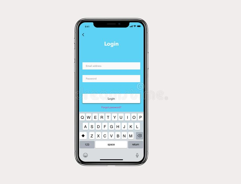 IOs Mockup Simple Login User Wireframe. For new IOs phone with blue background stock illustration