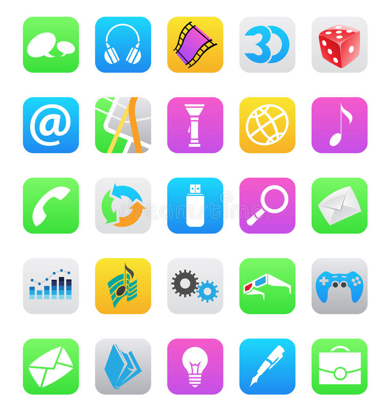 Ios 7 style mobile app icons isolated on white bac. Vector illustration of ios 7 style mobile app icons isolated on a white background royalty free illustration