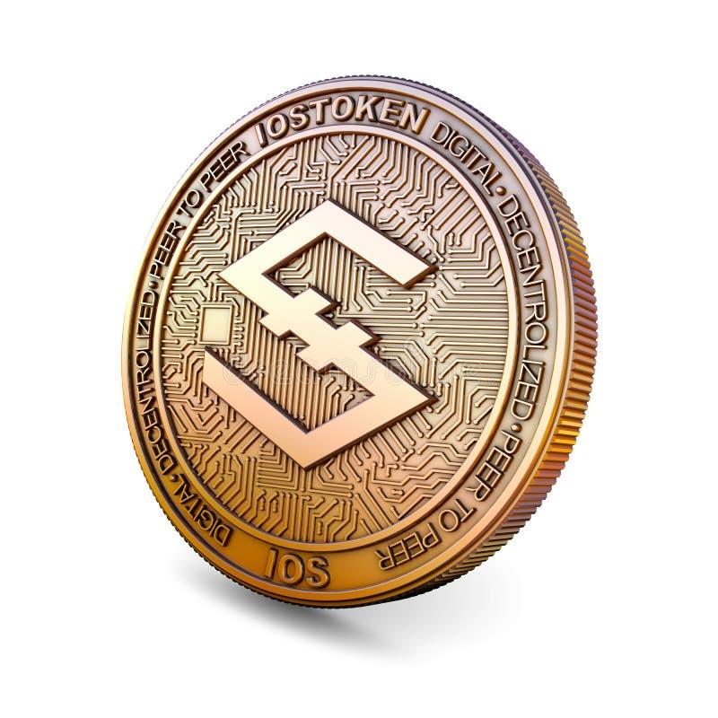 Iostoken - Cryptocurrency Coin. 3D rendering. Iostoken IOS - Cryptocurrency Coin Isolated on White Background. 3D rendering stock illustration