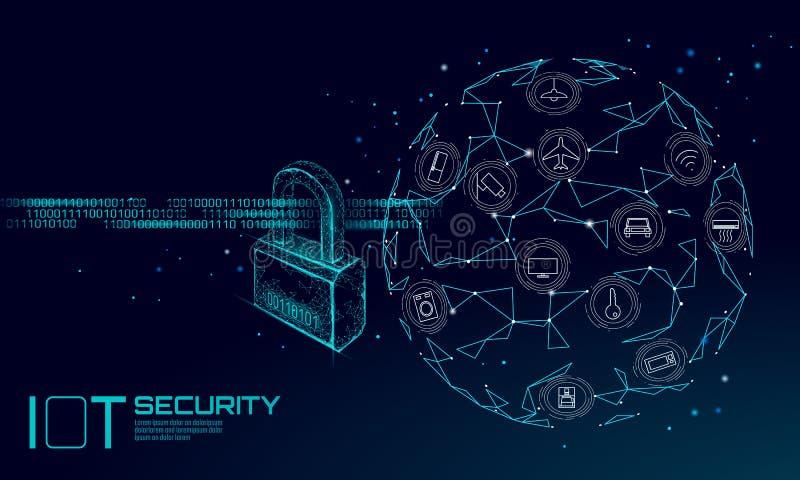 IOT网络安全挂锁概念 个人资料事聪明的家庭网络攻击安全互联网  攻击臭虫机械黑客的关键董事会 库存例证