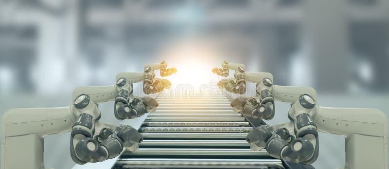 Iot产业4 0个技术概念 使用趋向自动化机器人胳膊的聪明的工厂有在传送带运转中l的部分的 库存图片