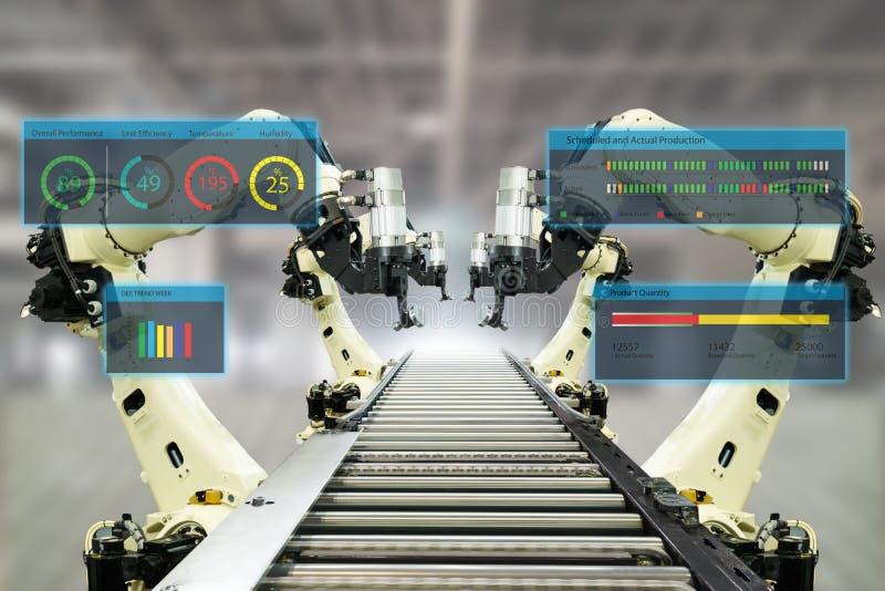 Iot产业4 红颜色的词位于在白色颜色文本 使用自动化机器人胳膊的聪明的工厂以显示数据的被增添的混杂的虚拟现实技术 库存图片