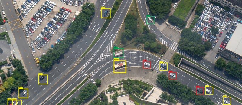 Iot使用人工智能对测量,分析和相同的机器学习与速度汽车和物体识别 库存图片