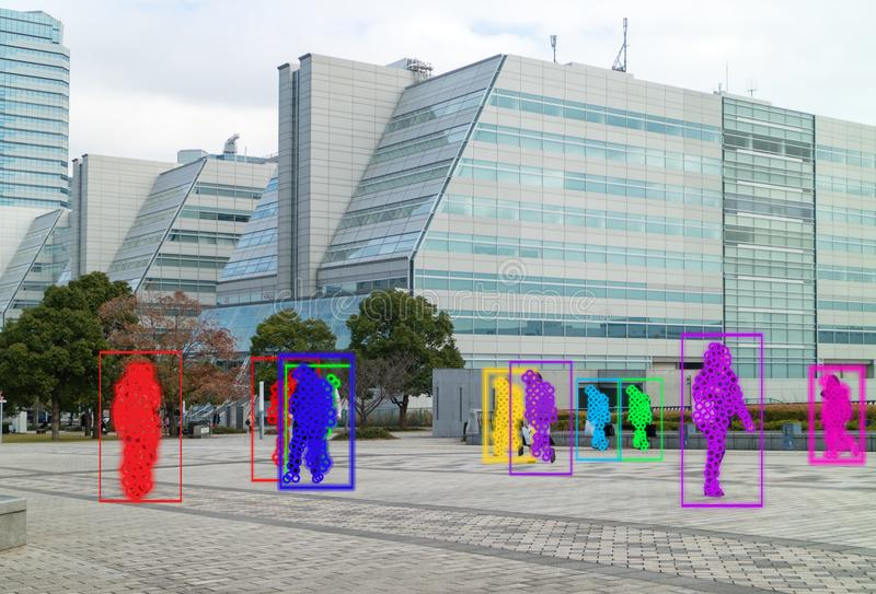 Iot使用人工智能对测量,分析和相同c的机器学习与人和物体识别 库存照片