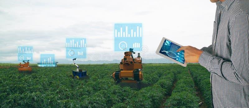 Iot聪明的农业产业4 红颜色的词位于在白色颜色文本 农夫控制机器人斑点浪花选择的杂草种类和使用mechan的用途片剂 免版税库存照片