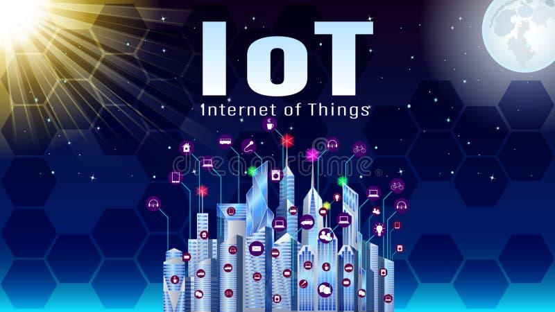 Iot,事互联网,现代城市 皇族释放例证