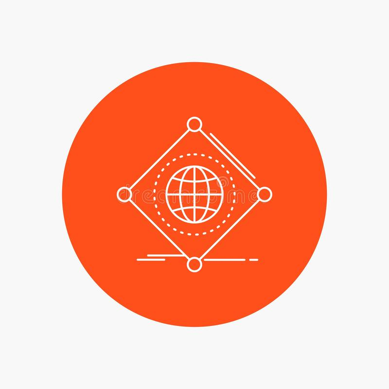 IOT,互联网,事,全球性空白线路象在圈子背景中 r 向量例证