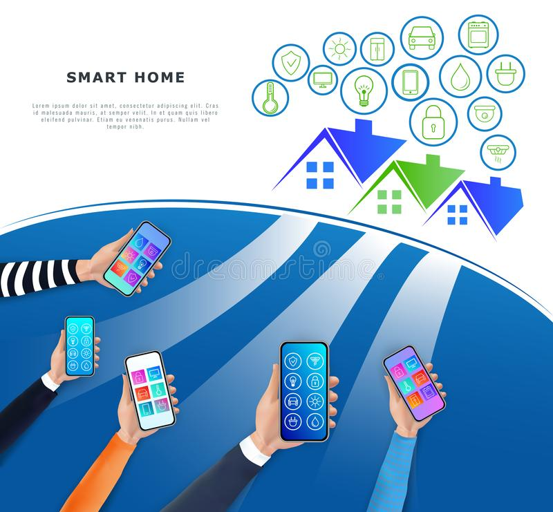 IOT ή Διαδίκτυο της έννοιας πραγμάτων Έξυπνος έλεγχος εγχώριων συστημάτων μέσω του κινητού app και σπιτιών δικτύου Σύγχρονο techn διανυσματική απεικόνιση