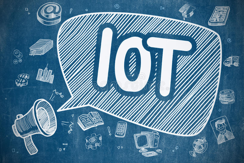 IOT - Απεικόνιση Doodle στον μπλε πίνακα κιμωλίας απεικόνιση αποθεμάτων