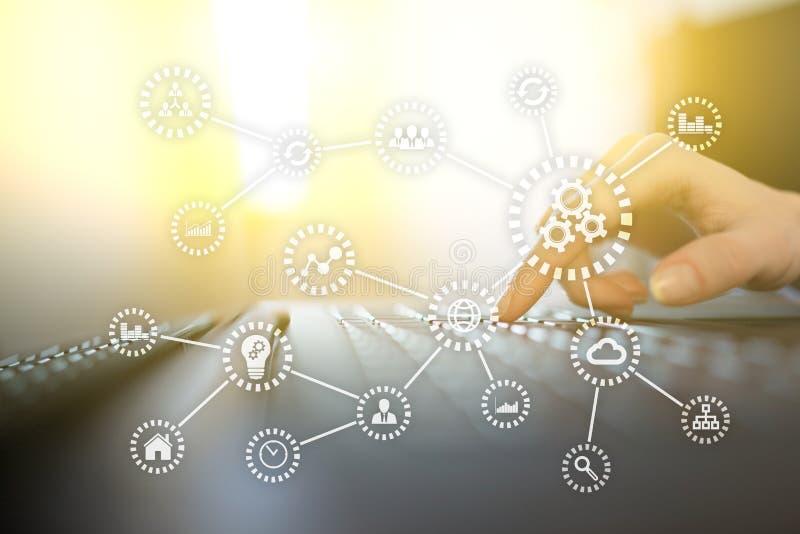 IOT Διαδίκτυο των πραγμάτων Αυτοματοποίηση και σύγχρονη έννοια τεχνολογίας απεικόνιση αποθεμάτων