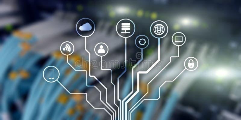 IOT Διαδίκτυο των πραγμάτων Δίκτυο επικοινωνίας πληροφοριών Τεχνητή νοημοσύνη Έμβλημα ιστοχώρου Datacenter ελεύθερη απεικόνιση δικαιώματος
