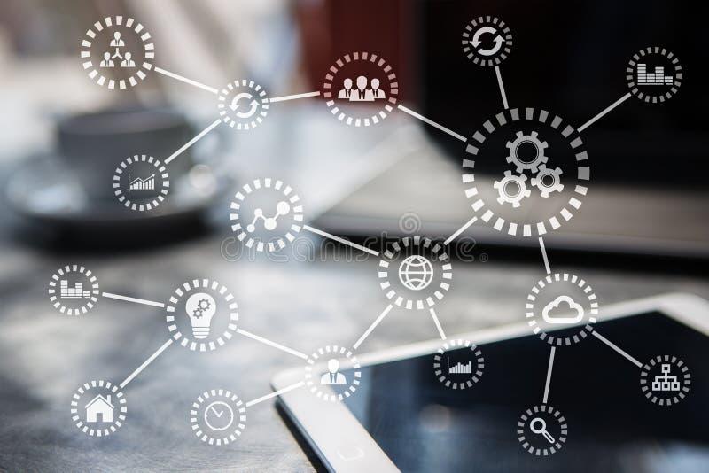 IOT Интернет вещей Автоматизация и современная концепция технологии иллюстрация вектора