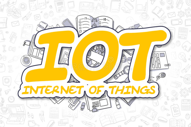 IOT -乱画黄色文本 到达天空的企业概念金黄回归键所有权 皇族释放例证