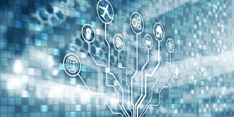 IOT 数字化,数字中断背景矩阵信息技术和互联网概念 库存例证