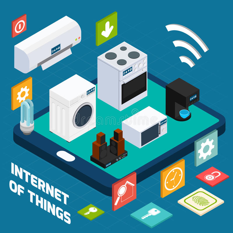 Iot concise household isometric concept icon royalty free illustration