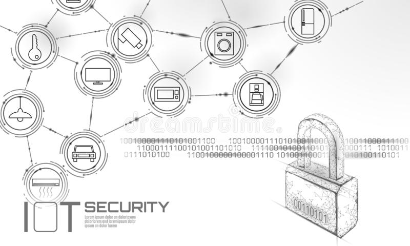 IOT cyber security padlock concept. Personal data safety Internet of Things smart home cyber attack. Hacker attack vector illustration