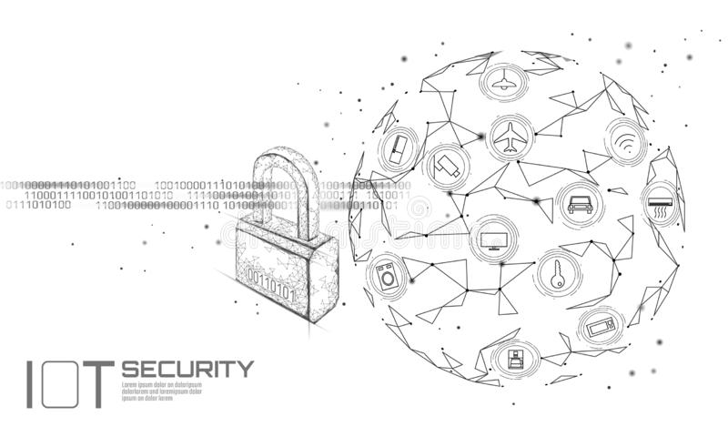 IOT cyber security padlock concept. Personal data safety Internet of Things smart home cyber attack. Hacker attack royalty free illustration