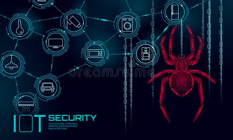 IOT cybersecurity spider concept. Personal data safety Internet of Things smart home cyber attack. Hacker attack danger vector illustration