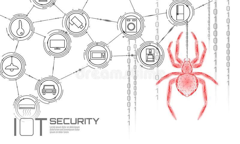IOT cybersecurity spider concept. Personal data safety Internet of Things smart home cyber attack. Hacker attack danger royalty free illustration