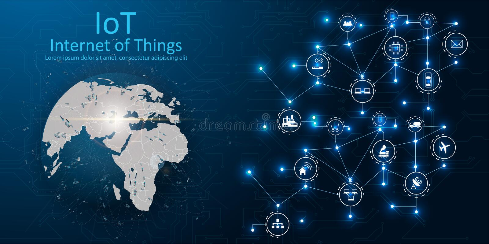 IOT, devices and connectivity concepts on a network, cloud at center. digital circuit board above the planet Earth. royalty free illustration
