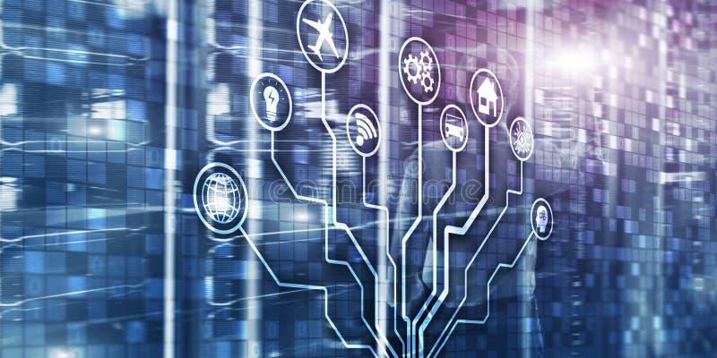 IOT. DIgitalization, Digital disruption background matrix information technology and internet concept stock photography