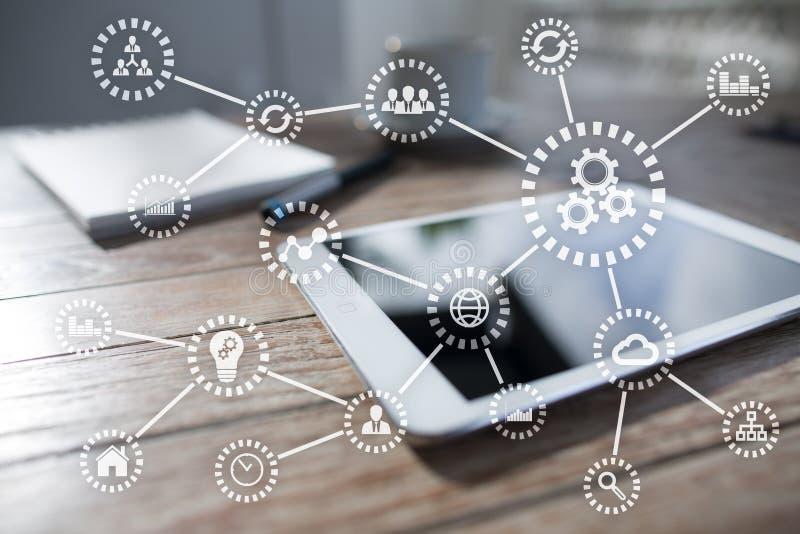 IOT E Automation och modernt teknologibegrepp arkivfoto