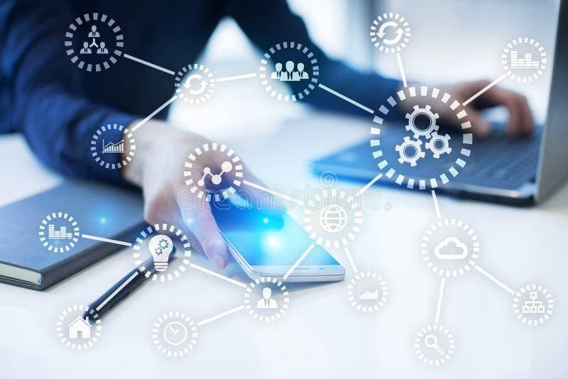 IOT E Automation och modernt teknologibegrepp arkivfoton