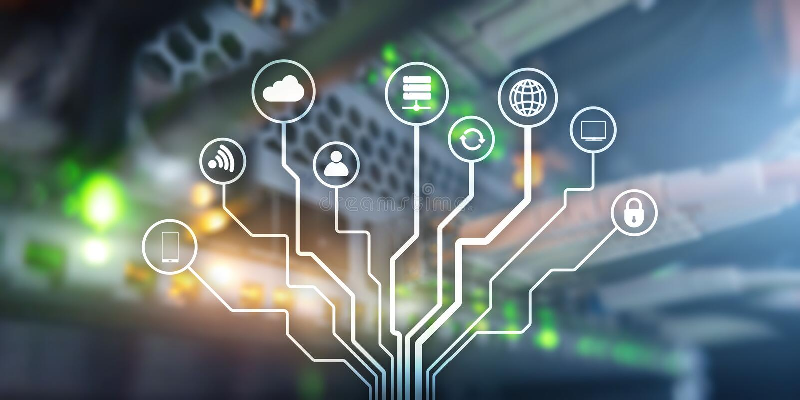 IOT E Informationskommunikationsn?tverk konstgjord intelligens Websitebaner Datacenter royaltyfri illustrationer