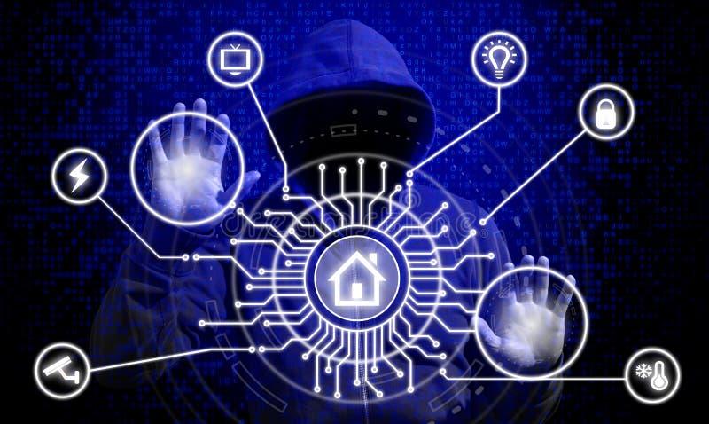 IOT en het slimme concept van de huisveiligheid royalty-vrije stock afbeelding