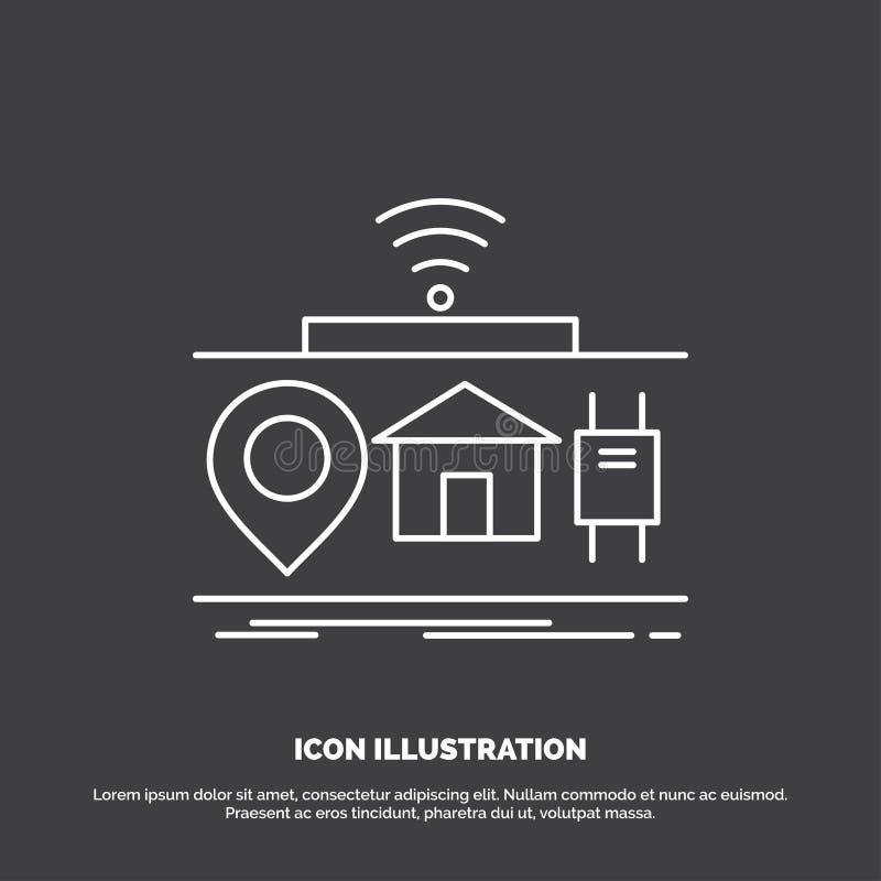IOT, gad?ety, internet, rzeczy ikona Kreskowy wektorowy symbol dla UI, UX, strona internetowa i wisz?cej ozdoby zastosowanie, royalty ilustracja