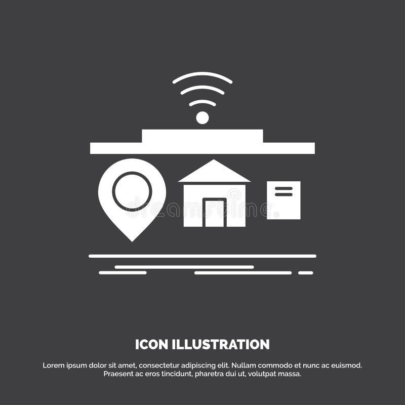 IOT, gadgets, Internet, van, dingenpictogram glyph vectorsymbool voor UI en UX, website of mobiele toepassing stock illustratie