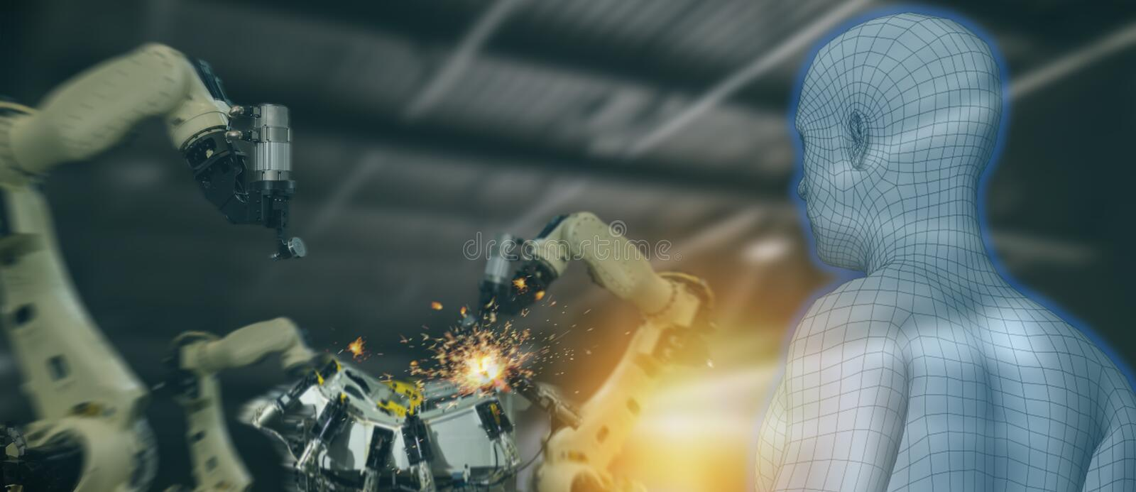 Iot industry 4.0 concept,industrial engineer using artificial intelligence ai augmented, virtual reality to monitoring machine i. N real time.Smart factory use stock image