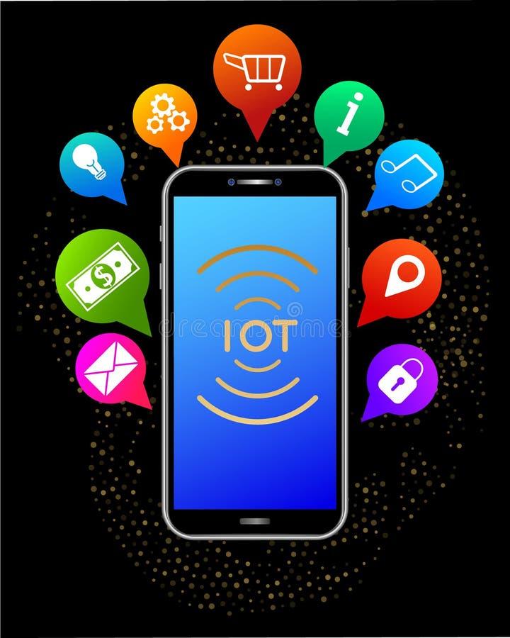 IOT - Internet av saker Realistisk smartphone med färgrika mobila appsymboler vektor illustrationer