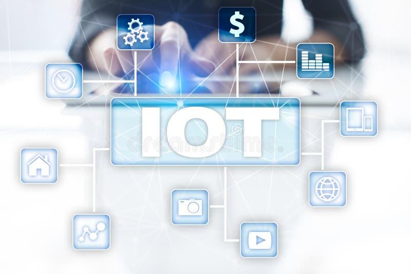 IOT Internet av tingbegreppet Multichannel online-kommunikationsnätverk royaltyfri illustrationer