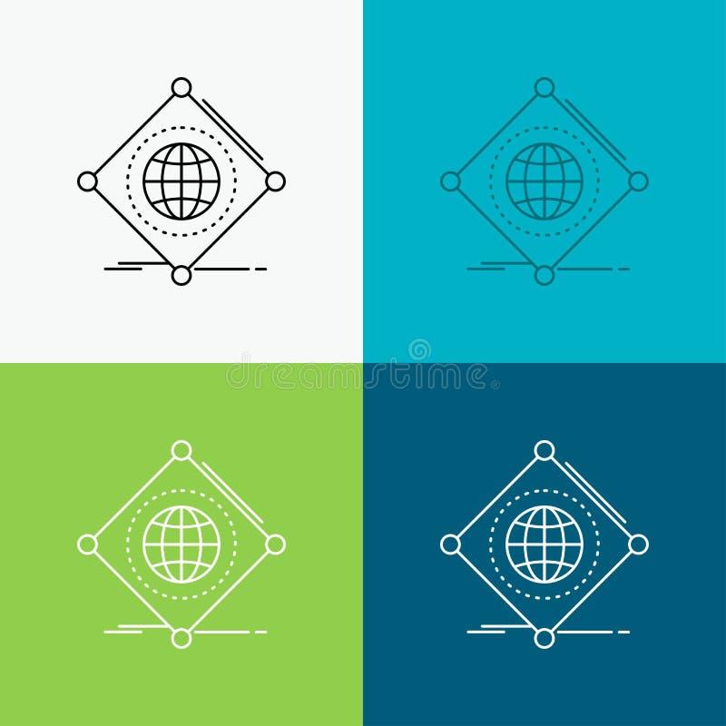 IOT, Internet, cosas, de, icono global sobre diverso fondo L?nea dise?o del estilo, dise?ado para la web y el app Vector del EPS  ilustración del vector